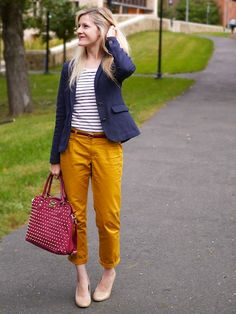 The Budget Babe rocking the Pleated Slim Slouch chinos in Oro and the Wright Navy Blazer from Lands' End Canvas! #CanvasChinos
