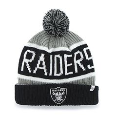 3165ee8c1 NFL Oakland Raiders Embroidered Jacquard Cuff Knit Hat with Pom by 47      Learn