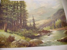 Vintage 16 x 20 Lithograph of Mountain Stream by Robert Wood