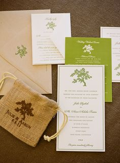 Green and Burlap wedding invite set. Perfect for this vineyard wedding!