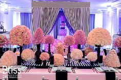 """Exclusive Glow - Bliss Weddings & Events. """"Exclusive Glow"""" is a harmony of colors which will inspire the guests who attend the showcase and awake their artistic senses. #blissweddings&events #eventsdecoration #eventsideas #blackwhite&pinkevent  #weddingfairideas"""
