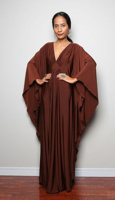 Hey, I found this really awesome Etsy listing at https://www.etsy.com/listing/190436573/brown-maxi-dress-kaftan-kimono-butterfly
