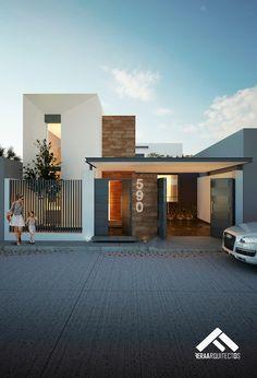 FACHADA PRINCIPAL: Casas de estilo moderno por FERAARQUITECTOS