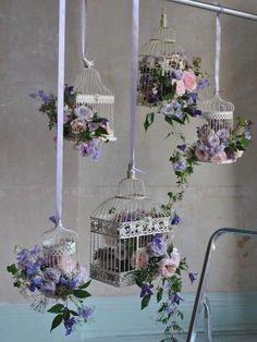 Jaulas con flores para decoraciones Shabby Chic