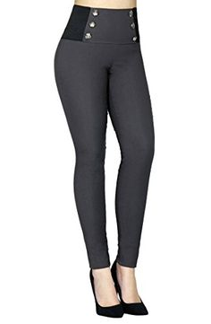 Women's Slimming High Waist Stretch Sailor Buttons All Around Pants Large Cobalt Dresses With Leggings, Leggings Are Not Pants, Jeans Refashion, Lycra Leggings, Fall Pants, Cute Pants, Pants For Women, Clothes For Women, Pants Outfit