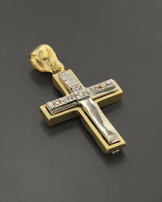 Σταυρός βάπτισης Χρυσός & Λευκόχρυσος Κ14 με Ζιργκόν δύο όψεων