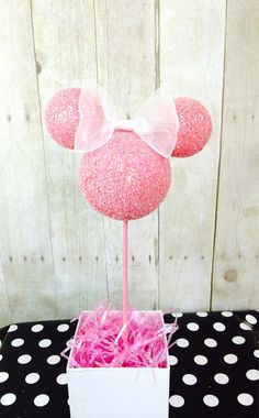 HEAD ONLY with bow. Custom Pink Minnie Mouse children's birthday party centerpiece Topiary decoration