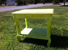 Lime green distressed night end table