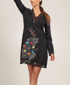 Love this Black & Olive Embroidered Shift Dress - Women by Aller Simplement on #zulily! #zulilyfinds