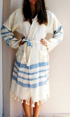 BATHROBE Navy Blue Anti Bacterial Unisex Natural by loovee on Etsy, $59.00