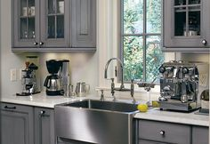 Grey Kitchen (American Legacy) I like the color and open cabinets Kitchen Redo, New Kitchen, Kitchen Design, Ninja Kitchen, Kitchen Ideas, Kitchen Yellow, Kitchen Tips, Country Kitchen, Grey Kitchens