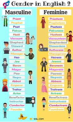 Gender of Nouns | Masculine and Feminine List in English - 7 E S L
