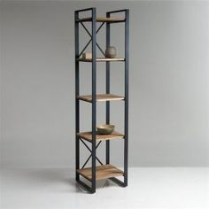 Hiba shelf column with 5 shelves, oak and steel- Regalsäule Hiba mit 5 Böden, Eiche und Stahl Hiba shelf column, 5 compartments, oak and steel natural wood La Redoute Interieurs