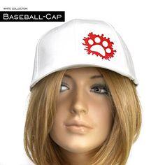 Baseball-Cap in weiss mit süssem Pfotenmotiv, Universalgröße Erwachsene