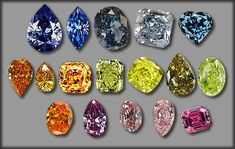 """""""Fancy"""" Diamonds     A small number of natural diamonds fall outside of the typical white-yellow-brown color range. They can be pink, blue, purple, red, orange or any color. When they are a pleasing shade they can be extremely valuable and are given the name """"fancy"""" diamonds."""