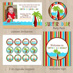 DIY Surfer Dude Birthday Party Pack - Printable. $30.00, via Etsy.