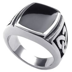 18dd7dc41f5f Details about Vintage Mens Stainless Steel Ring Celtic Knot Enamel Signet  Rings US Size 7-15