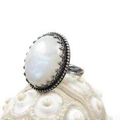Gemstone metalwork ring  silver moonstone ring  by MadeBySunflower, $90.00