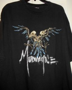 6f56eb7e6c6 Vtg MUDVAYNE Band Music Concert Tour Bird Skulls Skeletons Black Shirt~L XL