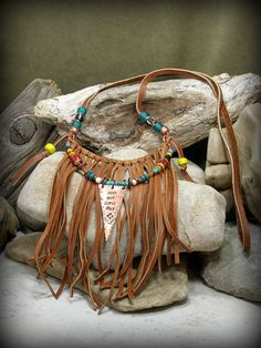 Tribal Necklace, Leather Necklace, Bohemian Necklace, Native American Design, Rock Your Gypsy Soul,  by StoneWearDesigns on Etsy