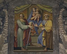 This mosaic above the Bronze Doors, which leads from St Peter's Square into the Apostolic Palace, shows Ss Peter and Paul flanking the Virgin and Child. 18 November, is the anniversary of the dedication of the basilicas of St Peter & St Paul in Rome.