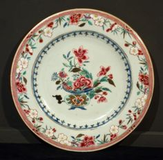 18th-19th-siecle-antique-chinese-famille-rose-porcelain-plate. OSELLAME's Collection.