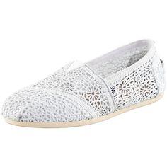 TOMS Metallic Crochet Slip-On, White/Silver ($90) ❤ liked on Polyvore