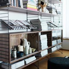 String shelving system // Bet this would be good for records and books.