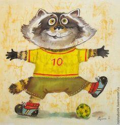 Енот футболист (батик панно) - жёлтый,енот,футбол,месси,спорт,подарок