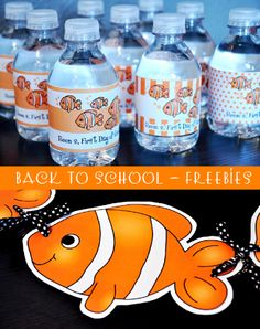 back to school free printables party bottle wrappers party ideas party supplies back to school stationery free freebies partyware party paperie nemo inspired school of fish party Porter Back To School Party, Back To School Night, Welcome Back To School, 1st Day Of School, Beginning Of The School Year, School Parties, School Fun, School Stuff, Mouse Parties