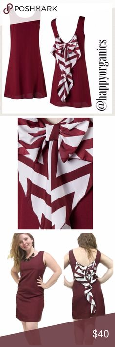 "Roll Tide Football dress with Chevron Bow Made in USA   Adorable Wine dress with a round neck and chevron printed bow cut back.  100% Polyester. Perfect Game Day Dress  Measurements Laying Flat Small -     B:17"" W:17.5 L:34.5 Medium - B:18"" W: 18.5"" L34.5 Happy Organics Boutique Dresses"