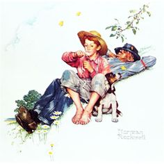 """Grandpa and Me: Picking Daisies"" by artist Norman Rockwell"
