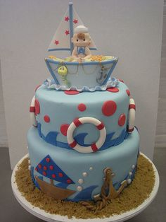 "hate the cake topper, love the cake- ""ships ahoy, its a boy!"""