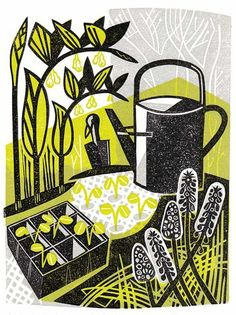 Clare Curtis, planting out, linocut, print, illustration, editorial, gardening, design, printmaking, colour, nature, plants