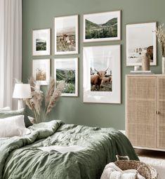 Sage Green Bedroom, Green Rooms, Green Bedroom Walls, Room Ideas Bedroom, Home Decor Bedroom, Gallery Wall Bedroom, Bedroom Retreat, Bedroom Inspo, Style Deco