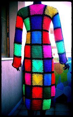 Rainbow Hearts Crochet Coat