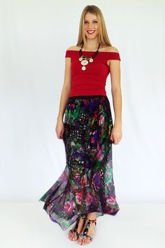 lovely silk maxi skirt outfit