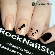 Shiny Nails, Fancy Nails, Pretty Nails, Cat Nail Designs, Beach Nail Designs, Rock Nails, Kawaii Nail Art, Nail Art For Kids, Nail Art Stripes