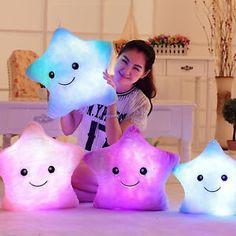 1× Romantische LED leuchten Glow-Kissen weich Cosy Relax-Kissen-Sterne Neu