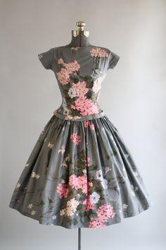 Vintage 1950s Dress / 50s Cotton Dress / Gray and Pink Floral Drop Waist Dress w/ Sequins S