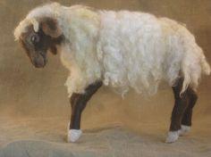 Needle felted sheep ready to ship  Christmas nativity by Ainigmati, $130.00