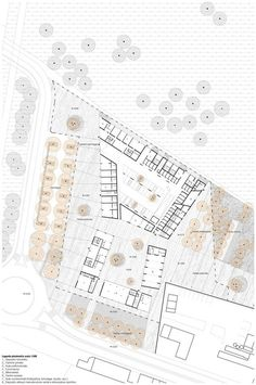 of Social Housing in Milan / StudioWOK - 8 Social Housing in Milan / StudioWOK,ground floor planSocial Housing in Milan / StudioWOK,ground floor plan Social Housing Architecture, Concept Architecture, Architecture Diagrams, Architecture Portfolio, Site Plan Rendering, Plan Maestro, Kindergarten Design, Modern Architects, Plan Drawing