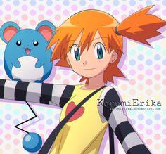 Misty and Marill by KurumiErika on DeviantArt Pokemon Couples, Pokemon People, All Pokemon, Pokemon Fan Art, Pokemon Games, Cute Pokemon, Dragon Ball Z, Pokemon Rouge, Misty From Pokemon