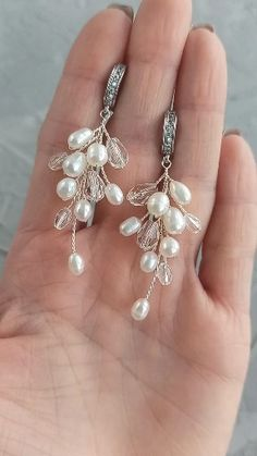 Bridal classic silver and gold branch earrings with freshwater pearls and cubic zirconia crystals, Wedding freshwater pearl long earrings Silver Jewellery Online, Fancy Jewellery, Vintage Jewellery, Antique Jewelry, Teardrop Earrings, Stud Earrings, Earrings Handmade, Handmade Jewelry, Geometric Jewelry
