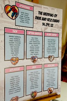 A superheroes themed wedding with comic book references. Comic book table plan inspiration.  For more wedding inspiration visit the Bride mag website at www.weddingsite.co.uk