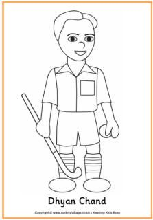 dhyan chand colouring page