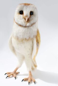 Needle Felted Barn Owl Sculpture by YvonnesWorkshop