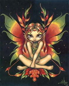 Autumn Night Fairy Painting at ArtistRising.com