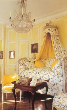 Ted and Lillian Williams restored French Folly - Chateau de Morsan built circa 1736 Normandy, France. Photographed by Deidi Von Schaewen for Beautiful Bedrooms