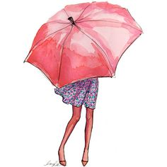 art illustration inslee rain umbrella cute style april may spring Art And Illustration, Art Sketches, Fashion Sketches, Fashion Illustrations, Fashion Drawings, Illustration Fashion, Umbrella Art, Pink Umbrella, Umbrella Painting